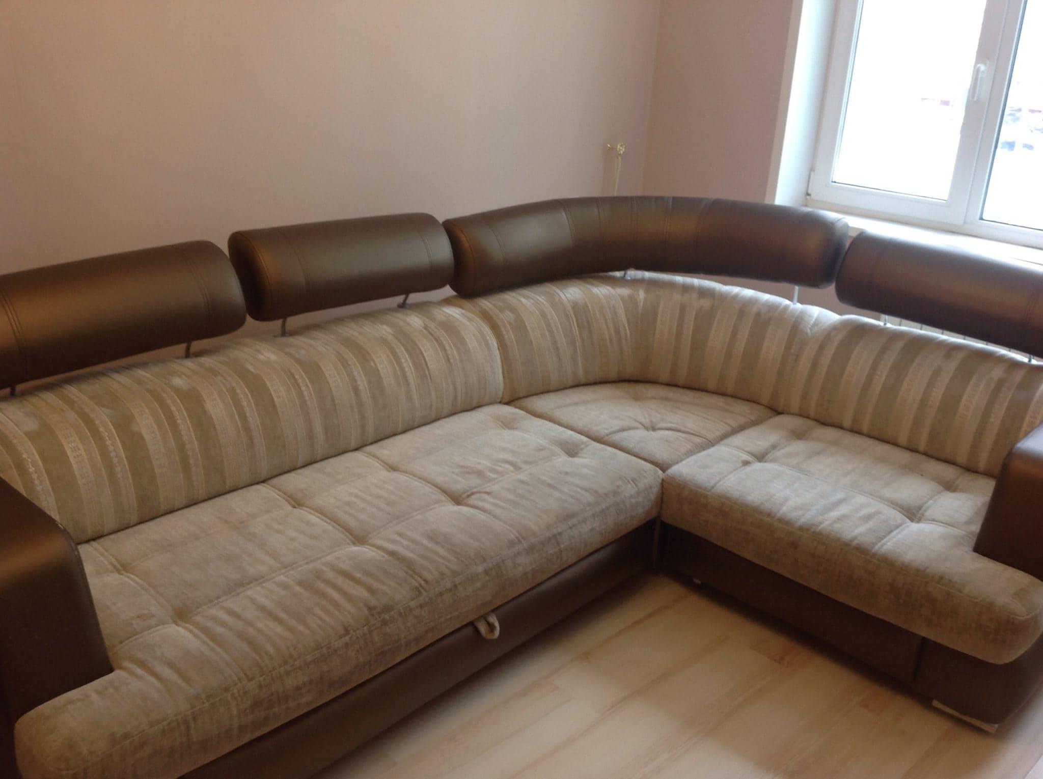 Чистка углового дивана до
