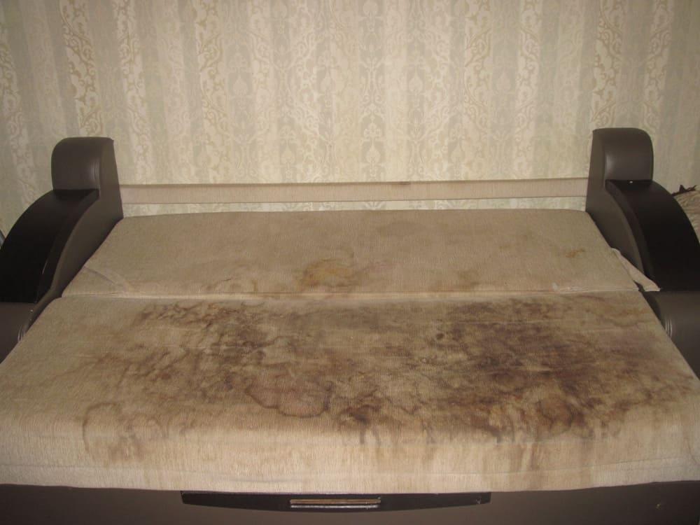 Химчистка дивана кремового цвета (очень сложные загрязнения) до