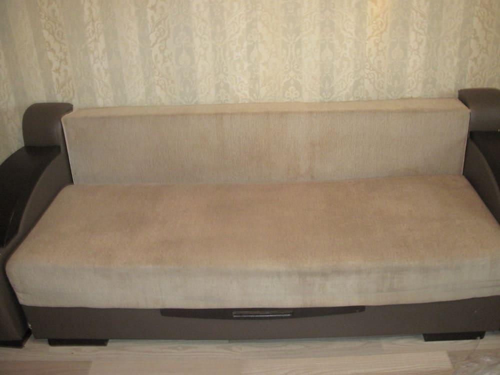 Химчистка дивана кремового цвета (очень сложные загрязнения) после