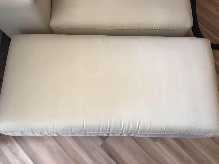 Чистка белого дивана (грязь, следы еды, жир, шерсть животных, фломастеры) после